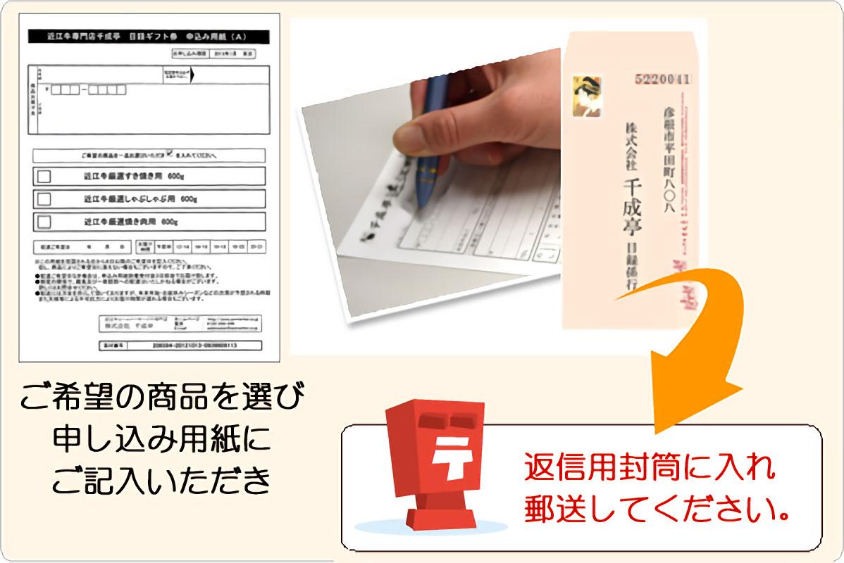 申し込み用紙にご記入いただき、返信用封筒で郵送してください。