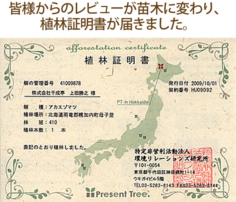 皆様のレビューが苗木に変わり、植林証明書が届きました。